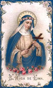 Saint Rose of Lima holding a cross